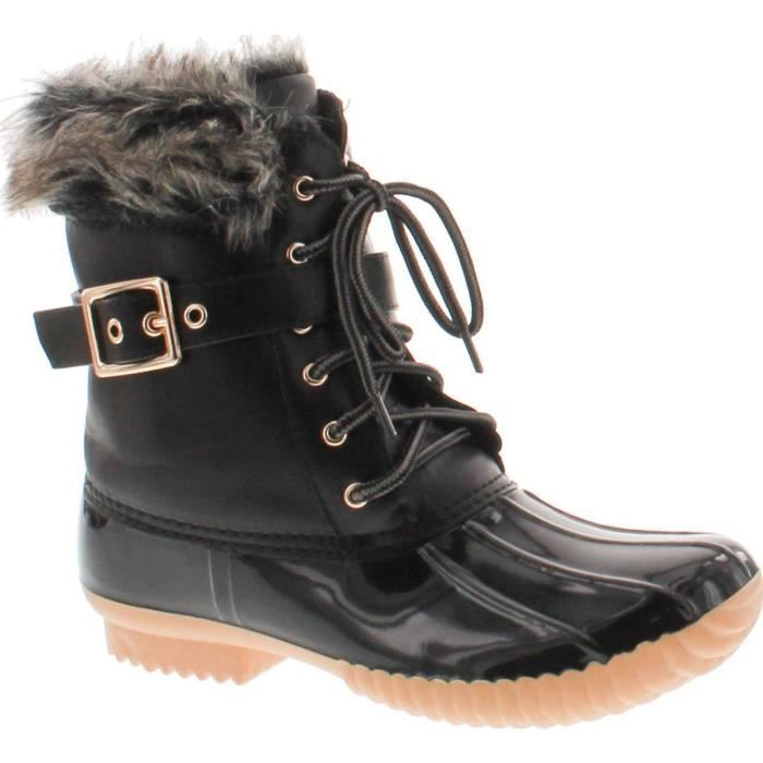 Canard-01 Chic Lace Up Buckled canard Bottes de neige imperméables BOO0K Taille-39 1-2