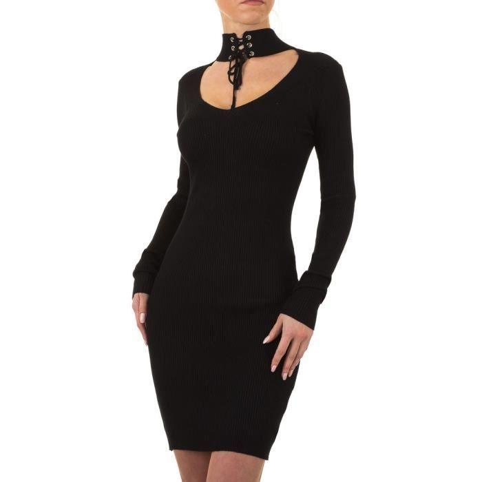 femmes robe à nervure licou Meni noir ONE SIZE