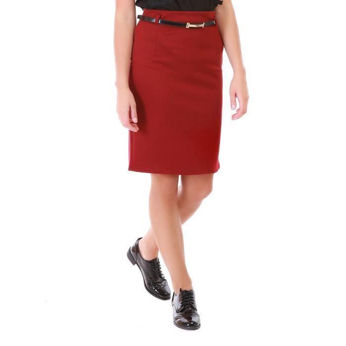 373344c3c88 Jupe crayon bordeaux avec ceinture-S Rouge Rouge - Achat   Vente ...
