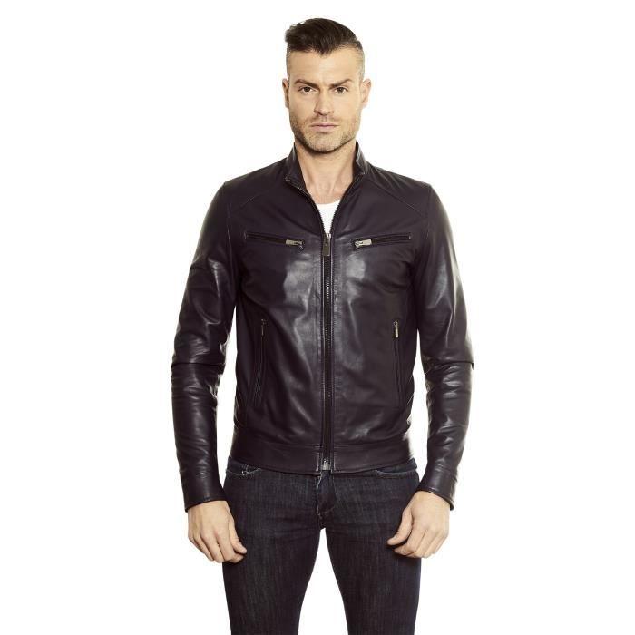 Veste en cuir homme style motard cuir plongé couleur cognac