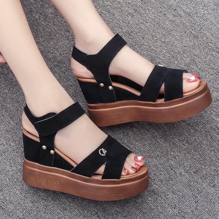 Femmes D'été « Chaussures Compensées Pnokw0 Mouth Sandales Fish AjLq5Rc34
