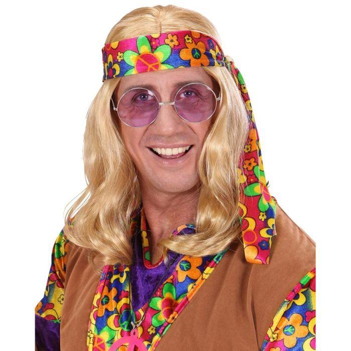 perruque hippie blonde homme ann es 60 hippie achat vente chapeau perruque cdiscount. Black Bedroom Furniture Sets. Home Design Ideas