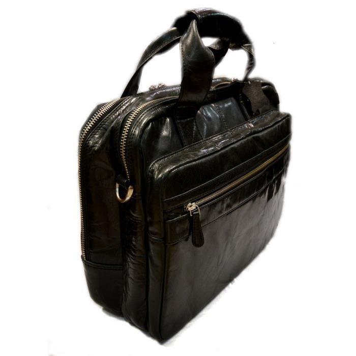 Sac à bandoulière noir en cuir sac notebook tablet ipad homme femme sac dépa