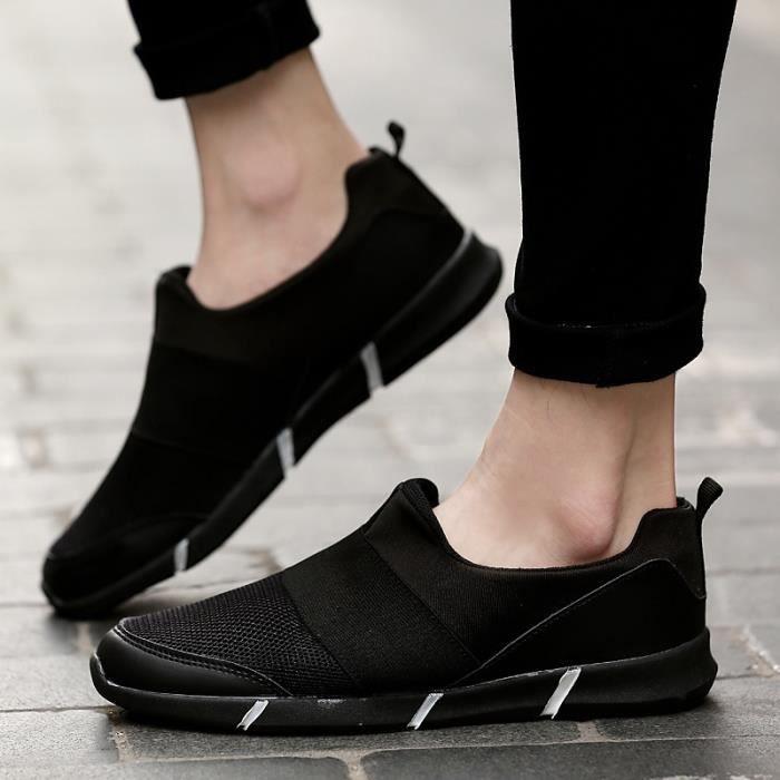Chaussures Hommes Casual Confort extérieur Flats été pour hommes Gym Formateurs Tenis Sandales léger Mocassins Slip On,noir,44