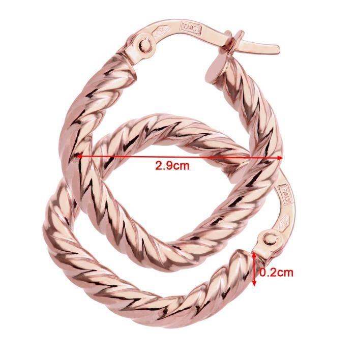 Revoni - Boucles doreilles anneaux carrés torsadés en or rose 9 carats