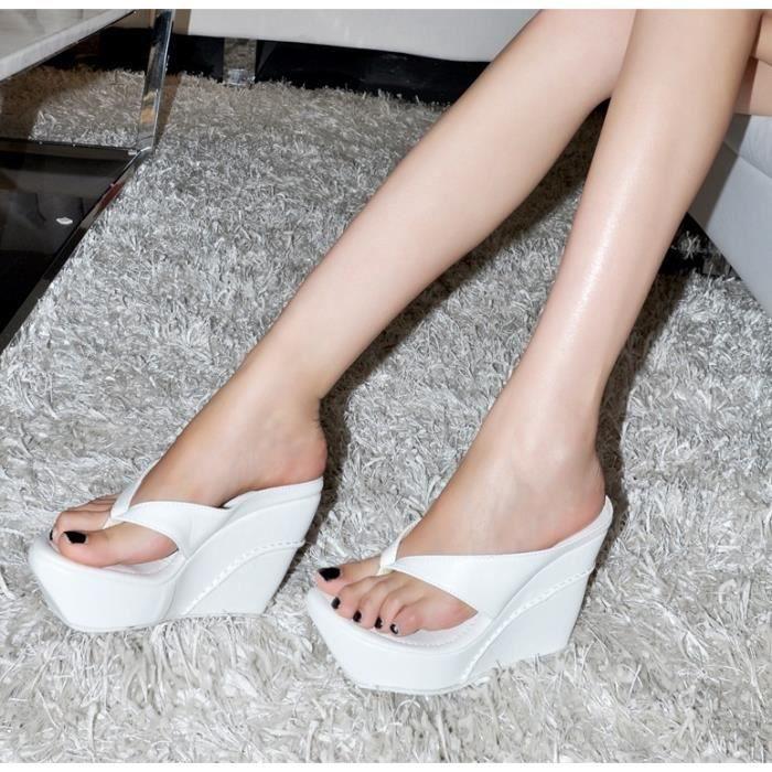 Sandales femme mode étanche plateforme talons hauts fond épais