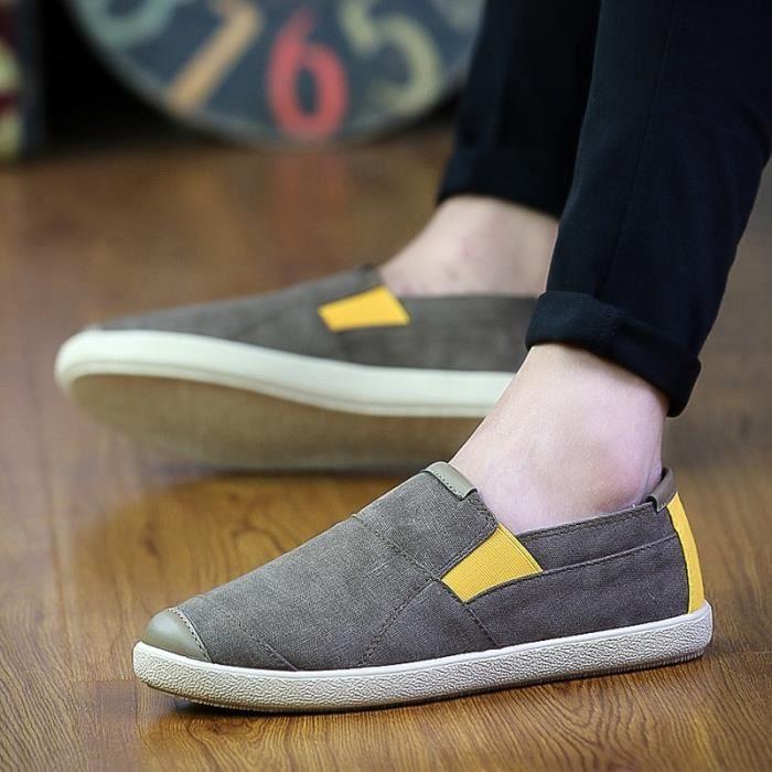 confortable Flats Nouveau Chaussures Hommes d'été Hommes Chaussures gris Shoes homme pour Souliers Flats toile Mocassins Slip vwCaqFw