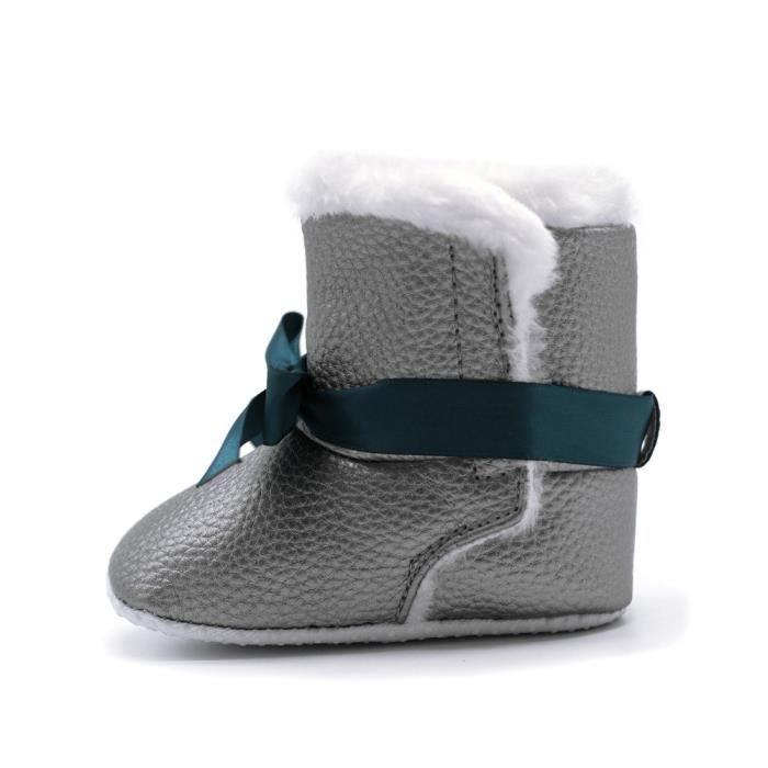 Gar Bottillons Crib Bowknot Chaussures on Fille Bb gris Neige De Rchauffement Bottes Doux Enfant Nourrisson 5aROn8p