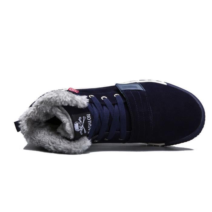 Garniture Hiver Automne Hommes Bottes Chaussures Chaudes Cheville bleu Plat Sport Bas Les YwEqXgq