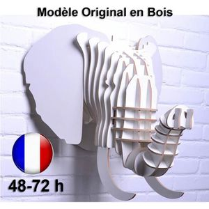 OBJET DÉCORATION MURALE Tête d'Éléphant Trophée Chasse Bois Luxe Design Ar