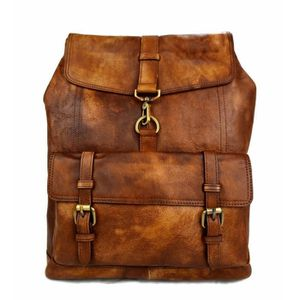 code promo c9739 c526f Sac à dos marron cuir italien lavé vintage sac à dos cuir ...