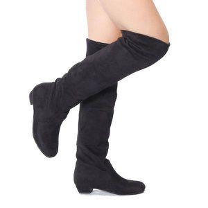 BOTTE Femmes talon plat sur les chaussures en daim de...