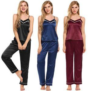 pyjama en satin femme Ensemble sans manches Cami Top taille élastique  Pantalons s 220 XXL noir 398eed7f5b4