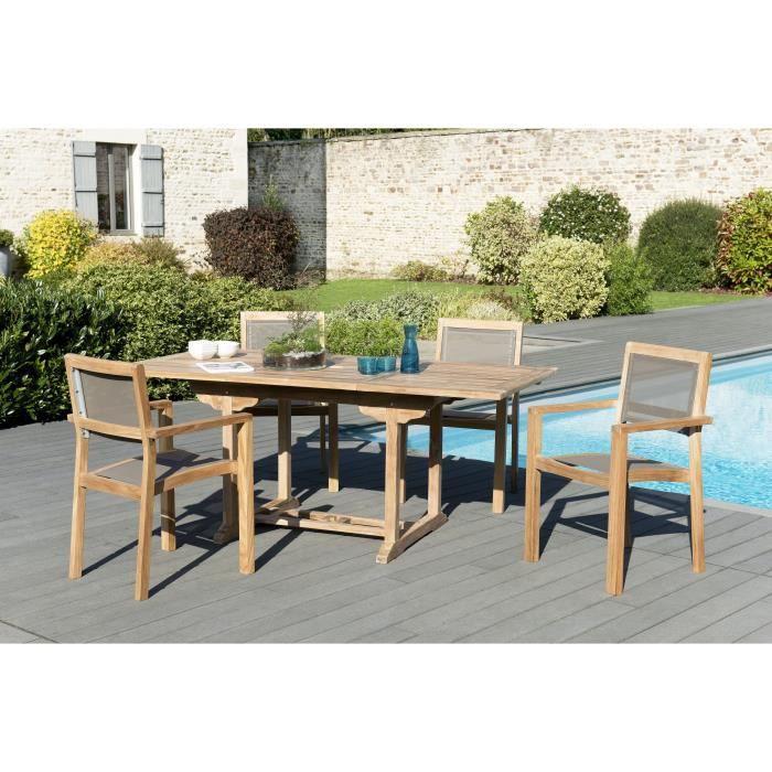 Ensemble de jardin en teck : 1 table rectangulaire 120 / 180 x 90cm - 2 lots de 2 fauteuils empilabl