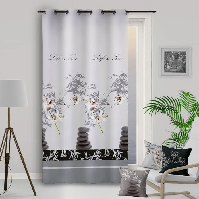 SOLEIL D'OCRE Rideau à Œillets ORCHIDEE - 135x250cm - Polyester Gris