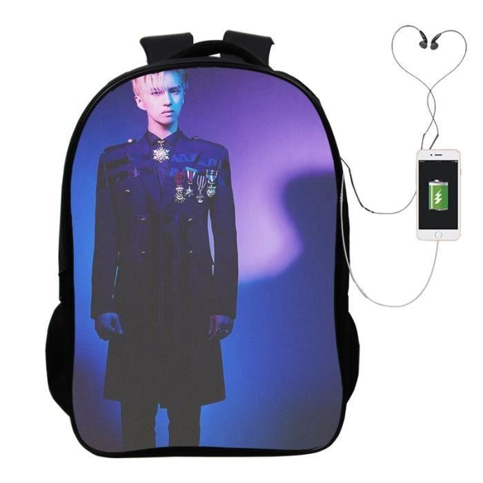 SAC A DOS Cool Kpop Vixx Zelos Ken Sac à dos pour ordinateur portable Garçons Filles école Hommes Femmes USB charge à dos