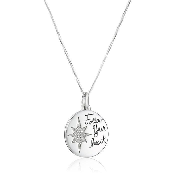 Jewel Panda Ster. Argent Follow Your Heart Collier avec pendentif Compass Diamond (1 / 10Cttw)