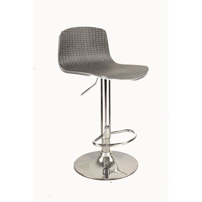 tabouret bar pivotant avec dossier en tissu design fabric gris achat vente tabouret cdiscount. Black Bedroom Furniture Sets. Home Design Ideas