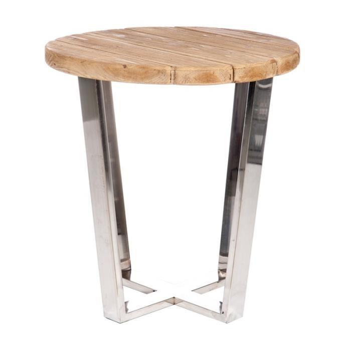 Sellette haute bois naturel et métal brillant - BENY - Achat / Vente ...