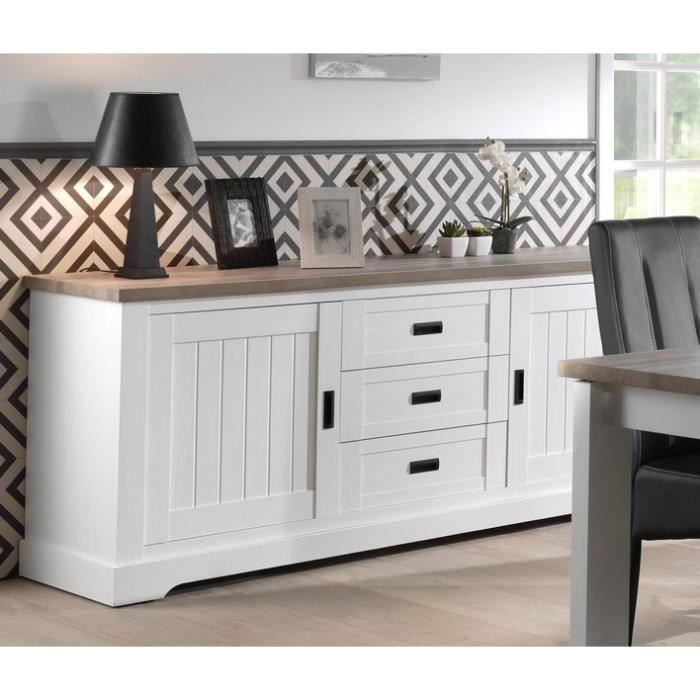 bahut blanc plateau bois  u0026 39 monaco u0026 39  meuble house - achat    vente buffet