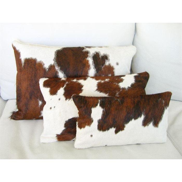 Coussin rectangle en peau de vache Normande   Achat / Vente