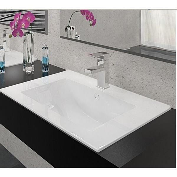 Vasque rectangulaire en céramique blanche 60 x 46 - Achat / Vente ...