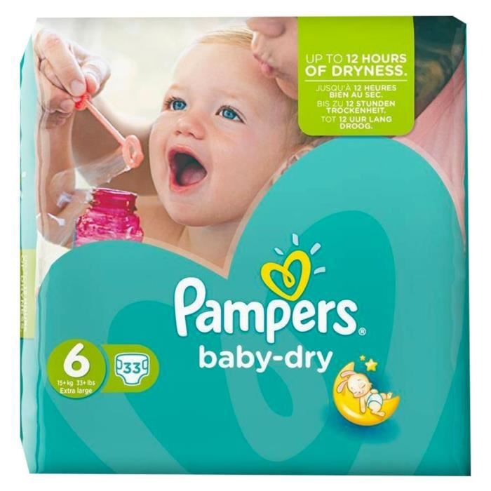 COUCHE Pampers Couches Baby-Dry Géant Taille 6 (15Kg+) x3