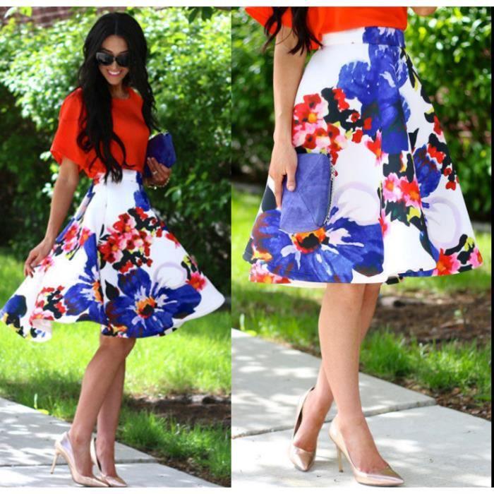 75030e8d1cb Femmes fleur imprimé jupe pleine robe taille haute robe jupe plissée jupe  plissée