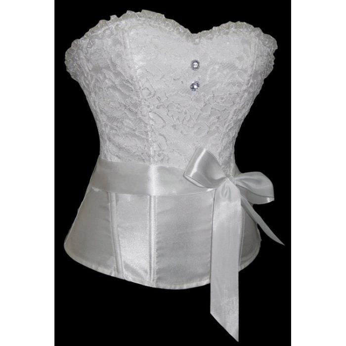 b266f3c07c83 Corset blanc à dentelle et ceinture - Achat   Vente déguisement sexy ...