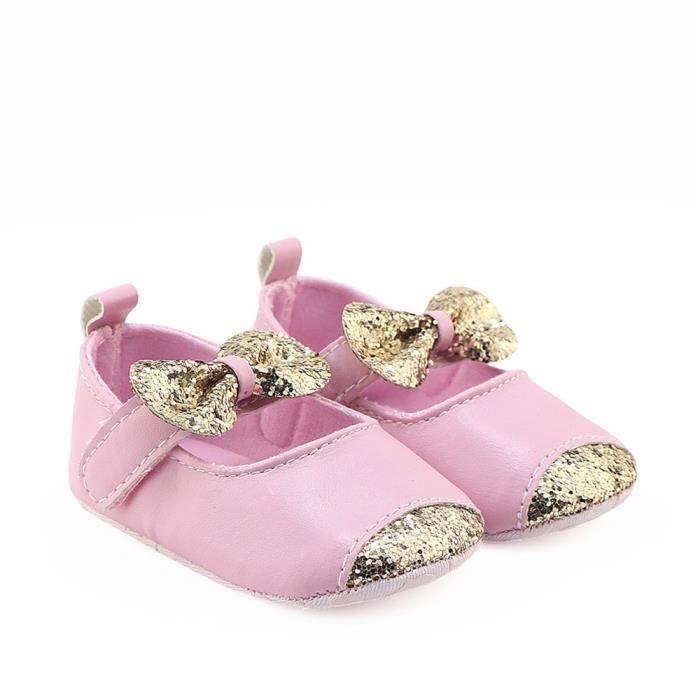 Frankmall®Filles Noeud papillon sequins berceau chaussures semelles douces anti-dérapant espadrilles ROSE#WQQ0926362 MksnhwoEy