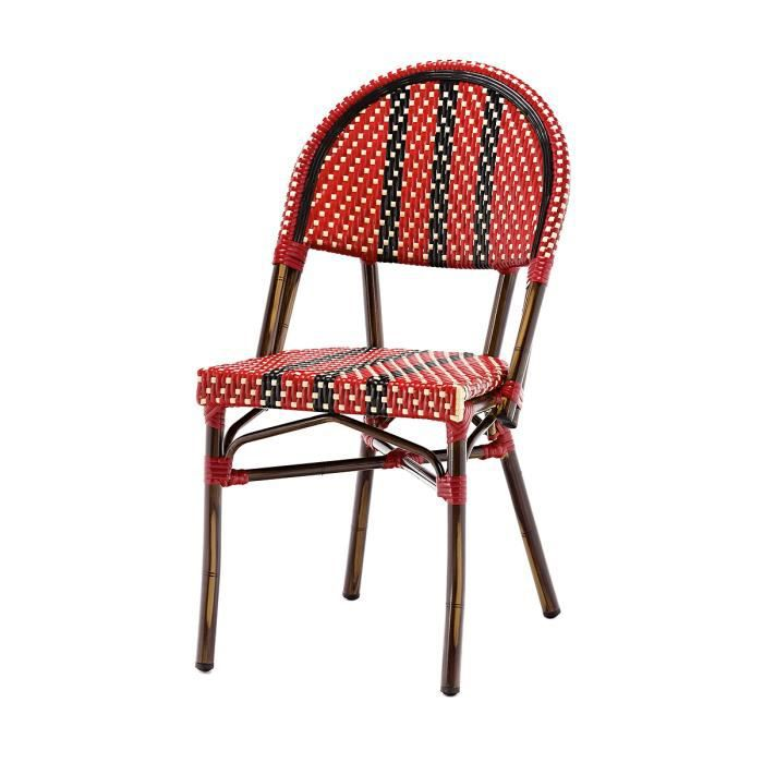 chaise bistrot rouge nico alu et polyrotin rouge rotin design garden - Chaise Bistrot Rouge
