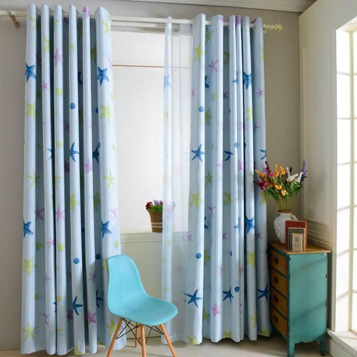 rideau voilages oeillet motif etoile de mer d coration. Black Bedroom Furniture Sets. Home Design Ideas