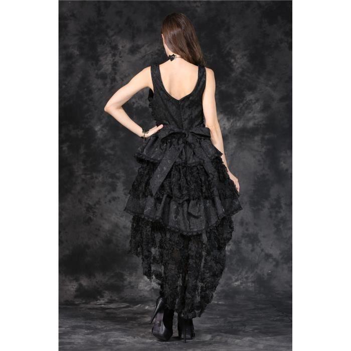 Robe bustier noire laçage, dentelle et broderie floral gothique romantique darkinlove