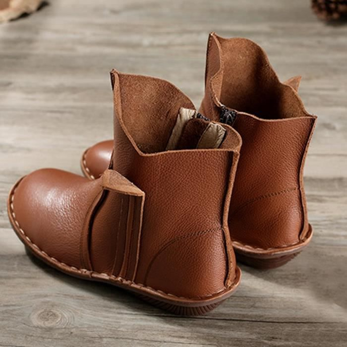 Leather Short Boots New Shoes IEOP9 Taille-35 1-2