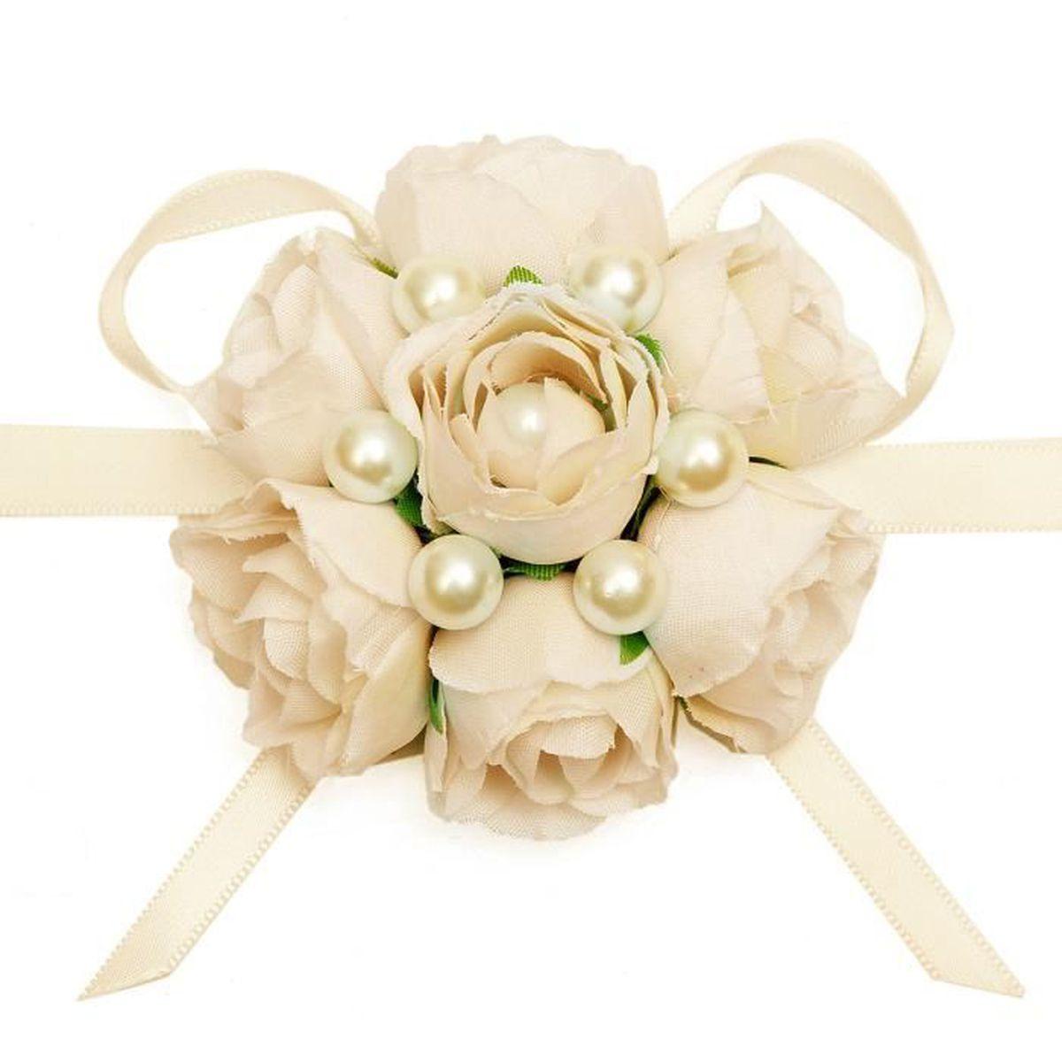 Bracelet fleur d co de mariage soir e champagne achat vente fleur artificielle soldes d s - Soldes decoration mariage ...