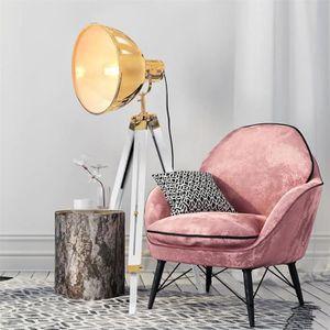 LAMPADAIRE Lampadaire abat-jour doré sur trépied style indust