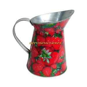 ENTRETIEN ARROSAGE Broc pichet galvanisé 1L25 décor fraises
