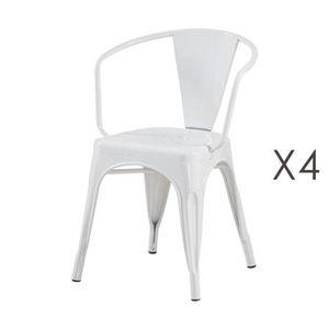 FAUTEUIL Lot de 4 fauteuils 36x36x73 cm en métal blanc - AR