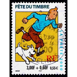 AFFICHE - POSTER Postage Stamp France 0.55 Euro Tintin Snowy Herge