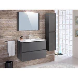 colonne salle de bain gris brillant achat vente pas cher. Black Bedroom Furniture Sets. Home Design Ideas