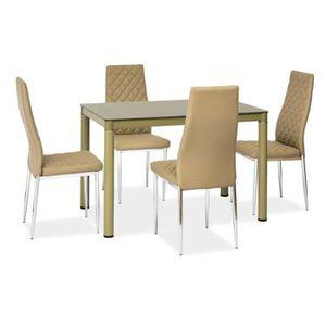 JUSThome Galant Table de salle à manger Beige foncé 75 x 70 x 110 cm ...
