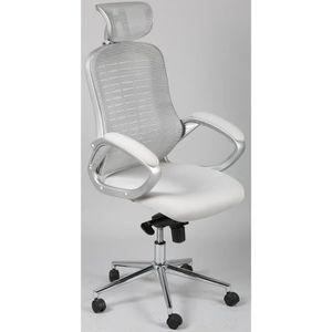 CHAISE DE BUREAU Chaise de bureau en tissu coloris gris avec appuie
