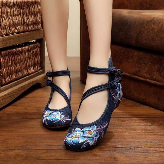 Femmes pente avec Ballerines chaussures de marc... Beige blue jeans - Achat / Vente chaussure toning