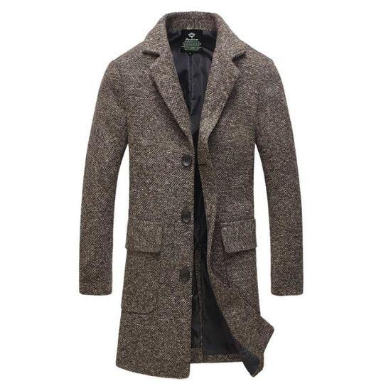 Slim Mi Ouverture Col Boutonnée Simple longue Manteau Homme Roulé Chaud Épaisse Falvor SqF5gnwx
