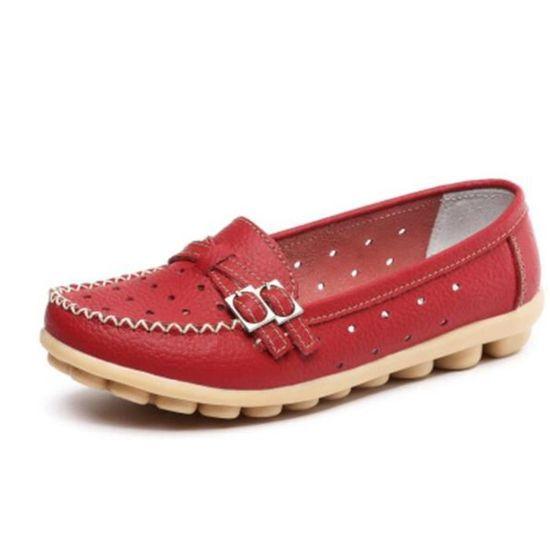 Printemps Chaussures Mocassin xz066rouge41 Été Cuir Yst Femme pGLzMqUVS