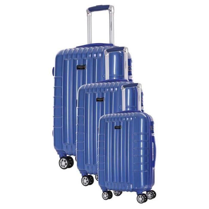 TORRENTE Set de 3 Valises Perses - Taille S, M et L - 8 Roues - Bleu