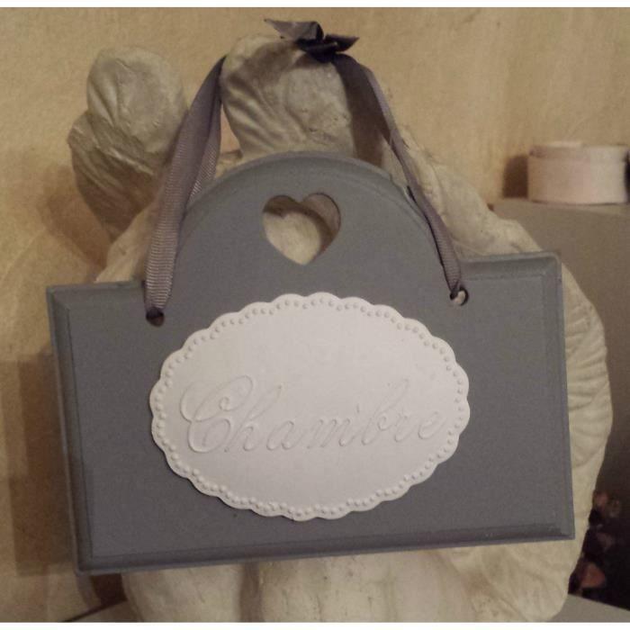 Plaque de porte « chambre » grise et blanche - Achat / Vente horloge ...