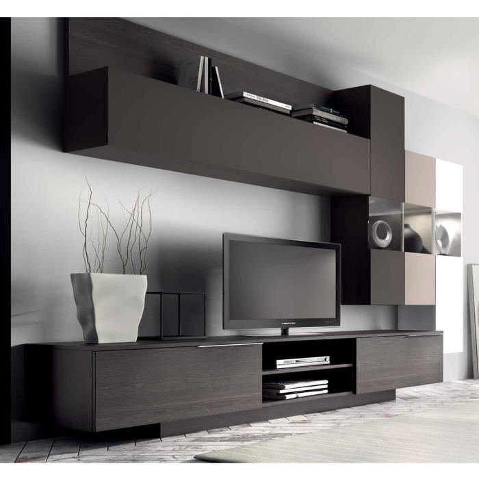 meuble mural tv design dania atylia couleur taupe matire mdf