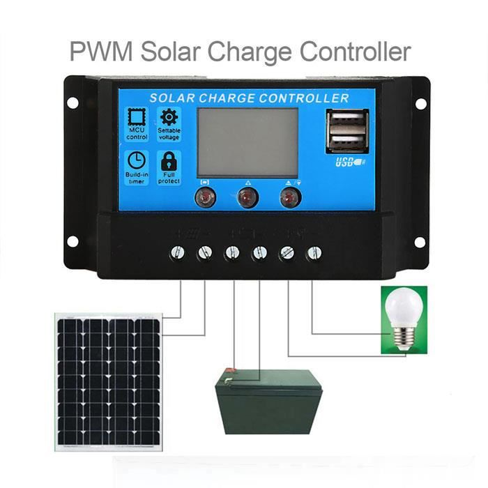 Régulateur de Charge solaire Anself 10 a 12V-24V LCD avec affichage  fonction Auto régulateur pour panneau solaire batterie lampe Pro becff885db00
