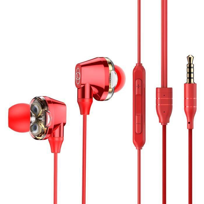 Baseus Encok H10 3.5mm Ecouteurs Intra-auriculaires Dual Drive Avec Micro (rouge)